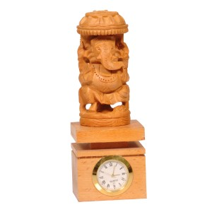 Wooden carved Ganesha with Clock